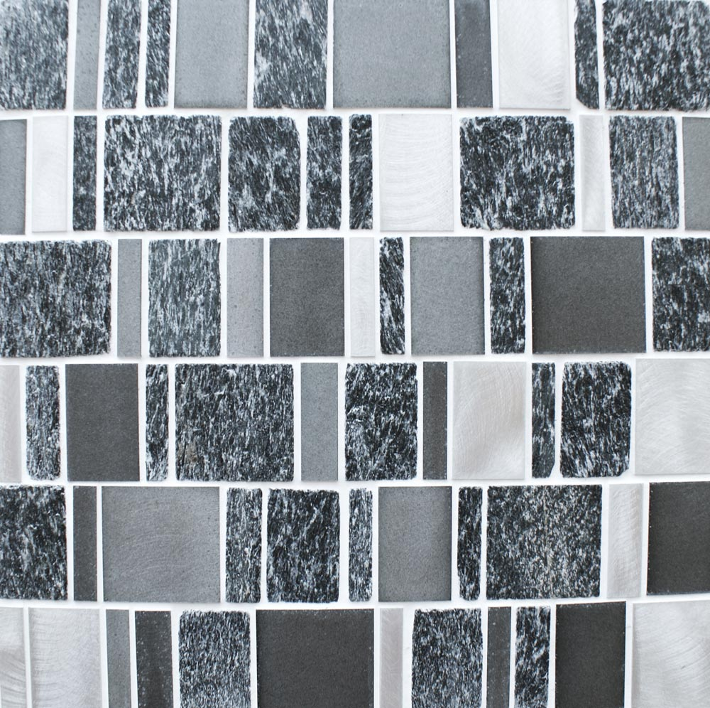 Heritage Rectangular Black wall and floor mosaic tiles