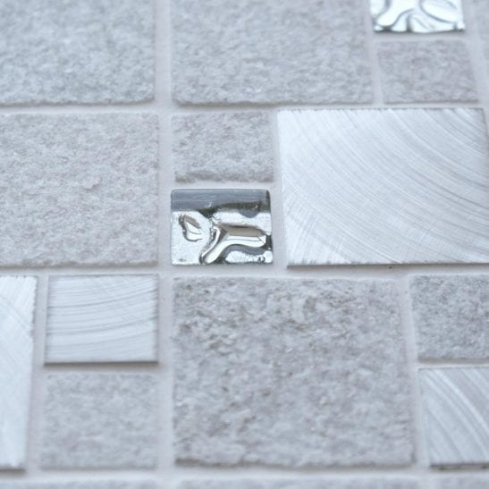 Heritage Square White wall and floor mosaic tiles