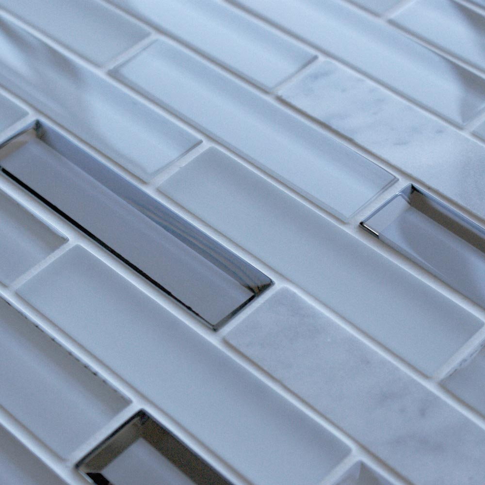 Glacier White Mosaic Brick Tiles