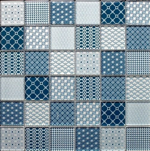 Patchwork Blue glass mosaic tiles
