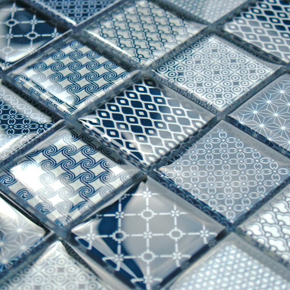 Patchwork Blue glass mosaic tiles