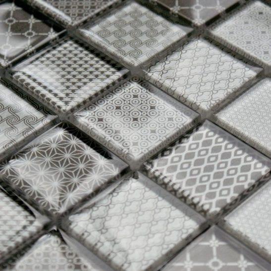Patchwork Grey glass mosaic tiles