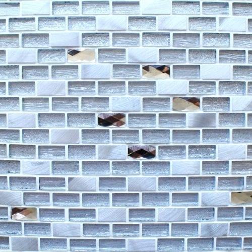 Elegance Silver mosaic brick tiles