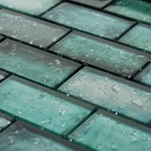 Adromeda Green Glass Brick Tiles