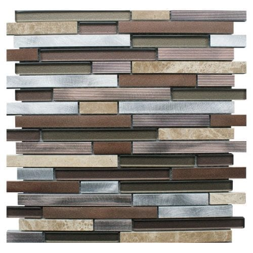 Alchemist Brown Metal, Glass and Stone Mosaic Tiles