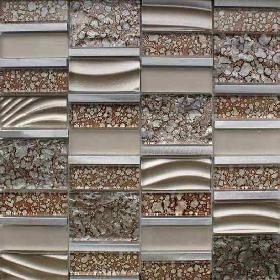 Brown multi format mosaic tiles for kitchen or bathrooms