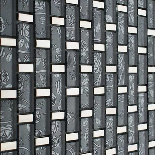 Grey glass mosaic brick tiles for kitchens and bathrooms