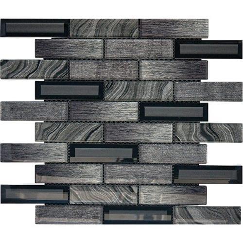 Lux Dark Grey Glass Brick Tiles