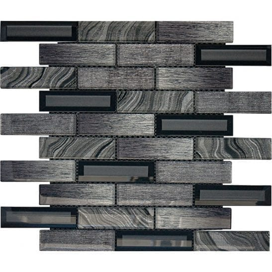 Lux Dark Grey Glass Brick Tiles