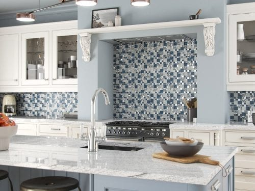 Lux Blue Square Mosaic Tiles Kitchen Scene