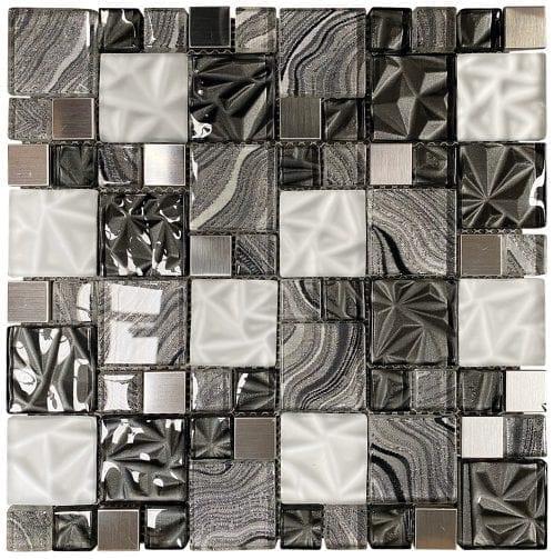Lux Grey Square Mosaic Tiles