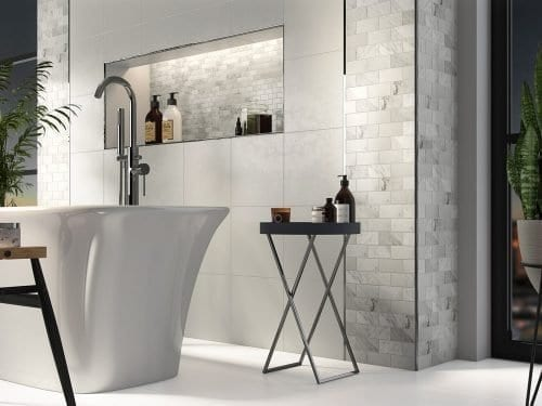 Pantheon White Marble Tiles Bathroom