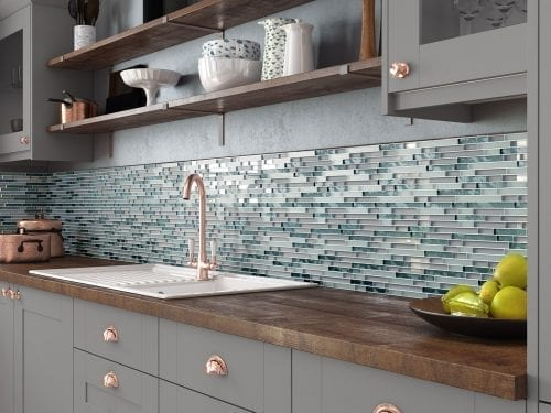 Solar Grey Mosaic Brick Tiles - Kitchen